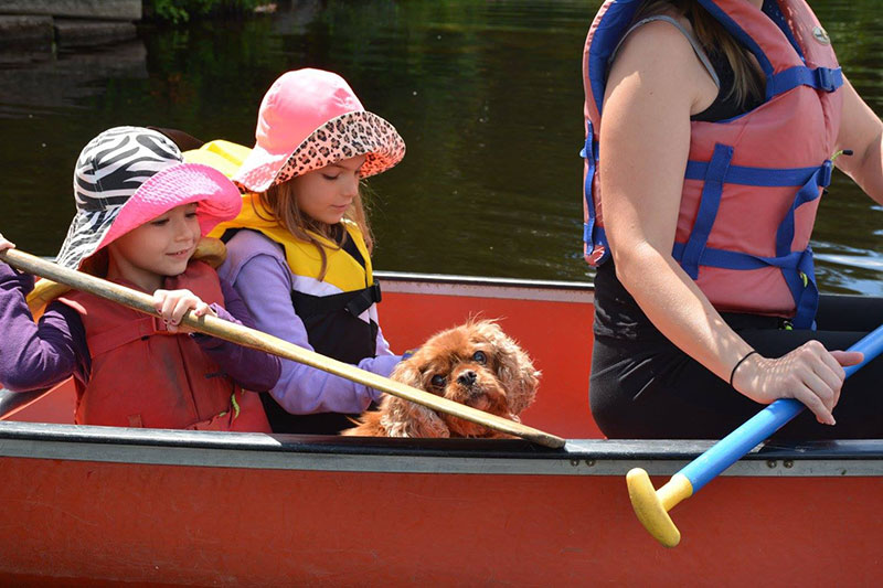 family canoeing - Lake Laurentian - Conservation Sudbury